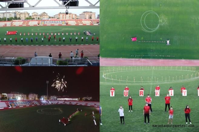 12 Şubat Stadyumunda İstiklal Marşımız okundu, Meşale yakıldı