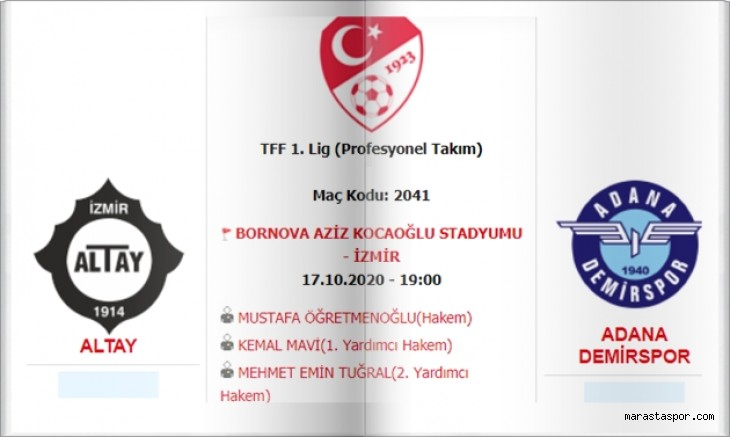 Altay - Adana Demirspor  maçı canlı izle