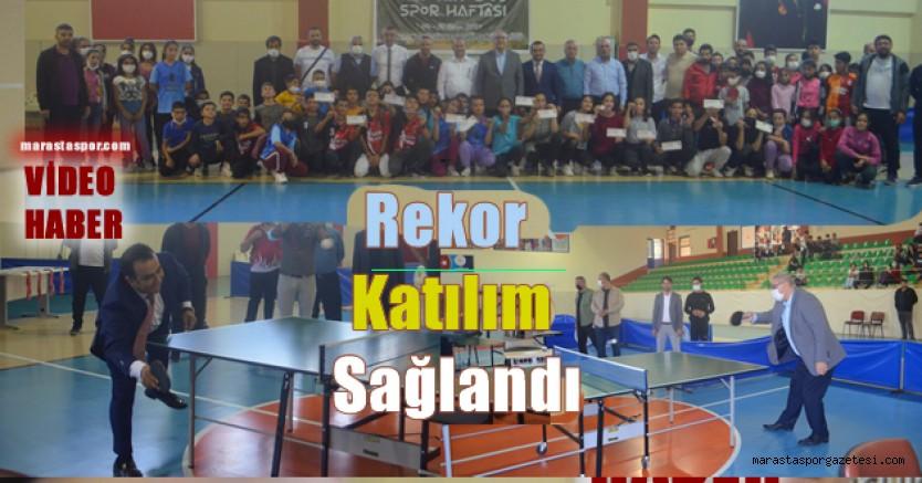 Pazarcık'ta Ödüllü Masa Tenisi turnuvası yapıldı